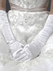 Simple Elbow Length White Fingertips Satin Bridal Gloves