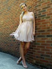 Smart Strapless Short A-Line Champagne Chiffon Rhinestone Belt Bridesmaid Dress
