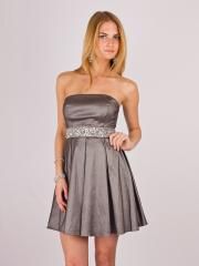 Smart Strapless Short A-Line Silver Satin Draped Skirt Junior Bridesmaid Dress with Band