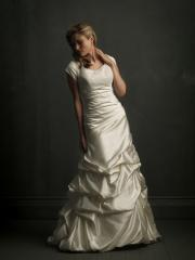 Sophisticated Cap Sleeve Pick-Up Gown of Satin
