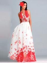 Sophisticated Halter V-neckline Sequined Band Floral Print A-line Style Quinceaneara Dresses