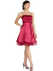 Spaghetti Strap Neck Short A-Line Red Silky Satin and Tulle Junior Bridesmaid Gowns