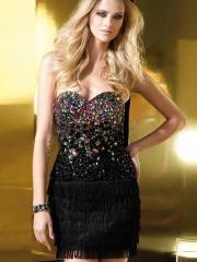 Sparkling Mini-length Black Satin Prom Dress with Colorful Rhinestones Bodice