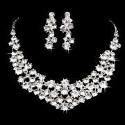 Sparkling Rhinestone Jewelry Set in White