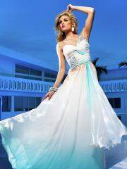 Special Floor-length Rhinestoned One-shoulder Chiffon Dress with Sequins