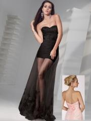 Special Ruffled Satin Mini-length Sheath Skirt with Floor-length Lace Outer Skirt Cocktail Dress