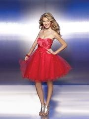 Spectacular Strapless Red Satin and Tulle A-Line Beaded Junior Bridesmaid Gowns