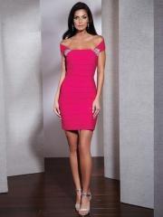Splendid Mini-length Off-shoulder Pink Ruffled Sheath Satin Prom Dress with Rhinestones