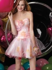 Spring Feeling Sweetheart Floral Printed Mini-length Satin and Tulle Cocktail Dress