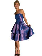 Square Neck Multi-Tiered A-Line Knee-Length Regency Silky Taffeta Floral Bridesmaid Dress