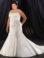 Strapless Mermaid Satin Plus Size Beading Wedding Dress