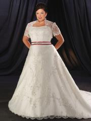 Strapless Queen Anne Neckline Beading Satin Wedding Dress