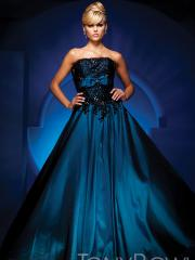 Strapless Straight Neckline Embroidered Sequins Bodice A-line Style Quinceanera Dresses