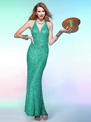 Stunning Floor-length V-neck Halter Sequined A-line Evening Dress