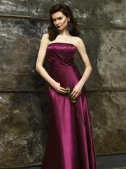 Stunning Hot Seller Strapless Grape Silky Satin Floor Length Sheath Mother of Brides Gown