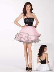 Stunning Mini-length Strapless Beaded Bodice and Flattering Skirt Cocktail Dress