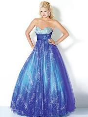 Stunning Strapless Floor Length Ball Gown Floral Tulle Underlay Quinceanera Gown