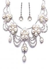 Stunning Wedding Crystal and  rhinestone necklace and pearl earrings