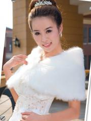 Stylish and Concise Faux Fur Wedding Cape in Pure White Color Wedding Wraps