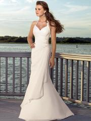 Sumptuous Halter Draped Chiffon Gown for Beach Wedding