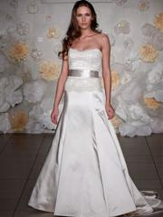 Sumptuous Ivory Satin Gown of Sash and Lace Bodice