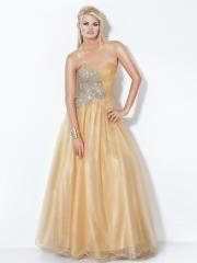 Sumptuous Sweetheart Beaded Champagne Tulle and Satin Ball Gown Quinceanera Dress