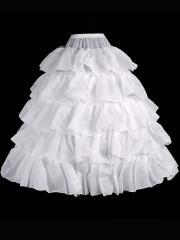 Sweet Floor-length Tiered White Princess Wedding Dress Pannier