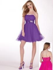 Sweet and Cute Cocktail Dress Features with Strapless Neckline and Bow Tie Sash