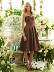 Sweetheart Brown Silky Fancy Satin Knee-Length Junior Bridesmaid Gown of Band Front
