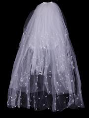 Sweetheart Multi-layered Tulle Veil with Pearls and Beadings