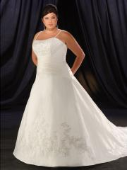 Taffeta Spaghetti Straps Beading Plus Size Wedding Dress