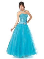 Taffeta and Tulle A-line Style Strapless Neckline Sequined Bodice Full Length Quinceanera Dresses