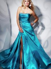Timeless Floor-length Strapless Ruffled Dress with Rhinestones