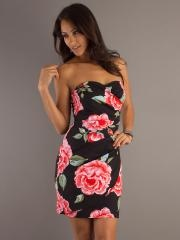 Traditional Floral Print Sheath Style Strapless Sweetheart Neckline Exquisite Cocktail Dresses