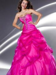 Triumphant Organza Ball Gown Silhouette Strapless Beaded Accented Pick-up Skirt Quinceanera Dresses