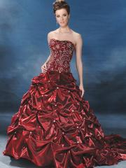 Unique Burgundy Ball Gown Strapless Chapel Train Satin Wedding Dress
