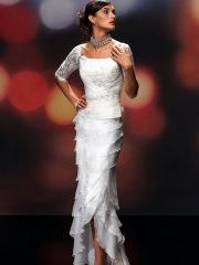 Unique With Square Neck in Floor Length Wedding Dress