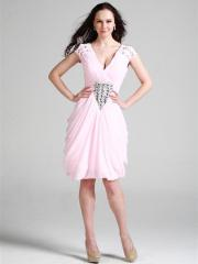 V-Neck Stain Homecoming Dress with Synthetic Diamonds