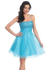 Vintage Blue Taffeta and Organza A-line Style with Sequined For Accented Bridesmaid Dresses
