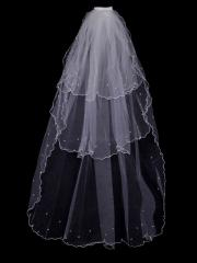 Vintage Floral Tulle Veil with Beadings