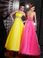 Vintage Strapless Empire Style Rhinestones Embellishment Taffeta and Tulle Quinceanera Dresses