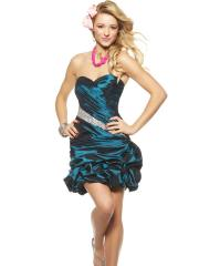 Voluminous Mini Ball Gown Dark Navy Heavy Taffeta Beaded Accent Bridesmaid Dress
