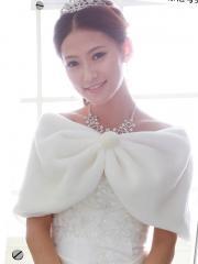 Warm Pure White Wedding Cape with Fuzzy Ball Wedding Wraps