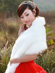 Wedding Wraps Amazing Faux Fur Ruched Wedding Shrug with Pearls