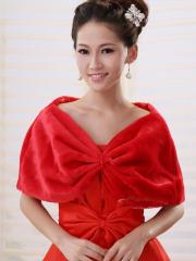 Wedding Wraps Chic Red Faux Fur Wedding Shrug with Ruched Details
