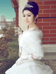 Wedding Wraps Classic Warm White Wedding Cape with Fuzzy Collar