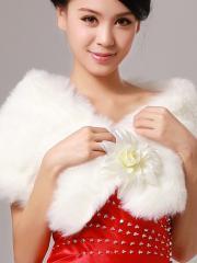 Wedding Wraps Cozy Faux Fur Wedding Shrug with Delicately Handmade Flower