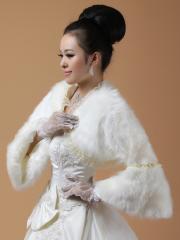 Wedding Wraps Fabulous Faux Fur 3/4 Length Sleeve Wedding Jacket