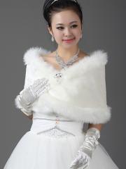 Wedding Wraps Luxurious Faux Fur Wedding Shrug Holding Gorgeous Floral Design
