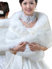 Wedding Wraps Marvelous Faux Fur Wedding Jacket with Organza Bow Tie
